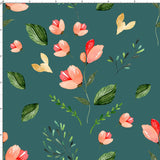 CUSTOM DIGITAL WOVEN (Cotton Sateen 130gsm) Saltwater Mermaids - Floral Stems Dark Teal