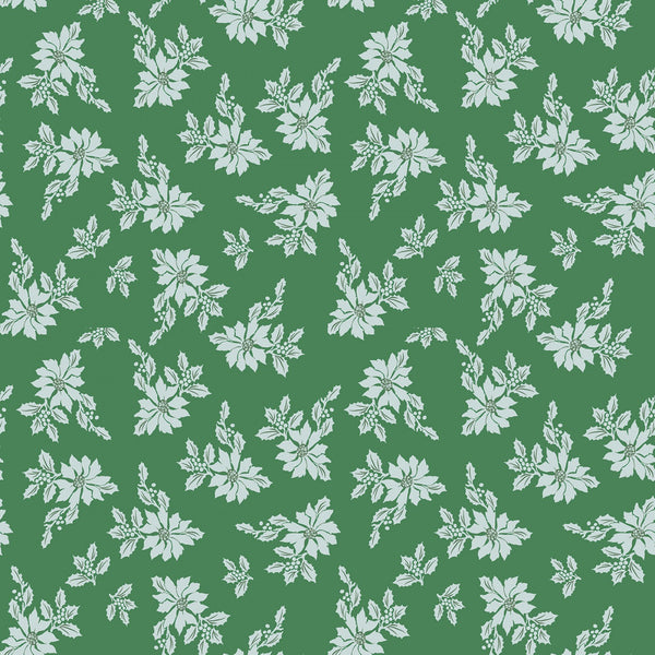 SANTA CLAUS LANE Poinsettias Green