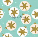CUSTOM DIGITAL WOVEN (Cotton Sateen 150gsm) Scandi Christmas - Star Baubles Mint