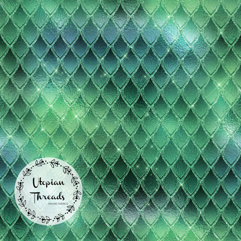 CUSTOM DIGITAL FABRIC Dragon Scales - Emerald Green - BY REQUEST
