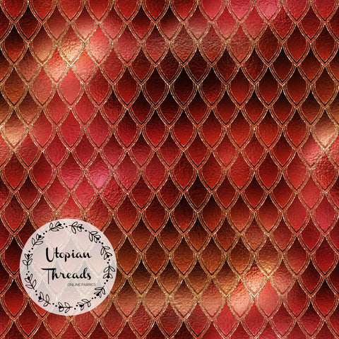 CUSTOM DIGITAL FABRIC Dragon Scales - Fiery Red - BY REQUEST