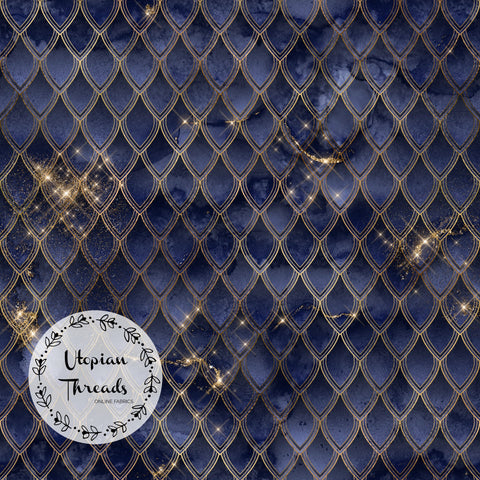 CUSTOM DIGITAL FABRIC Dragon Scales - Midnight Blue & Gold - BY REQUEST