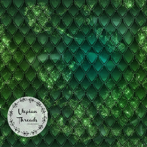 CUSTOM DIGITAL FABRIC Dragon Scales - Serpentine Green - BY REQUEST