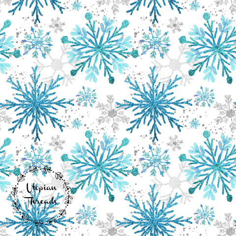 CUSTOM DIGITAL FABRIC  Snowflake Christmas - Blue Silver on White - PRE ORDER (Sept/Oct 2020)
