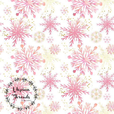 CUSTOM DIGITAL FABRIC  Snowflake Christmas - Peach Gold on White - PRE ORDER (Sept/Oct 2020)