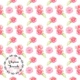 CUSTOM DIGITAL WOVEN (Cotton Poplin 140gsm) Springtime Llamas - Floral White