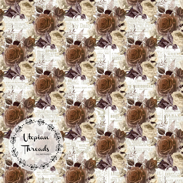 CUSTOM DIGITAL WOVEN (Cotton Sateen 150gsm) Steampunk Skulls - Brown Floral on Newsprint