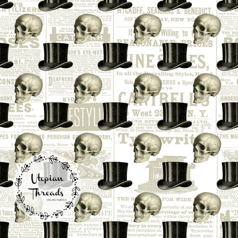 CUSTOM DIGITAL PRINT Steampunk Skulls - Side Skulls & Tophats on Newsprint Ivory - BY REQUEST