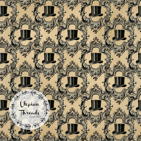 CUSTOM DIGITAL PRINT Steampunk Skulls - Tophat Cameos Beige - BY REQUEST