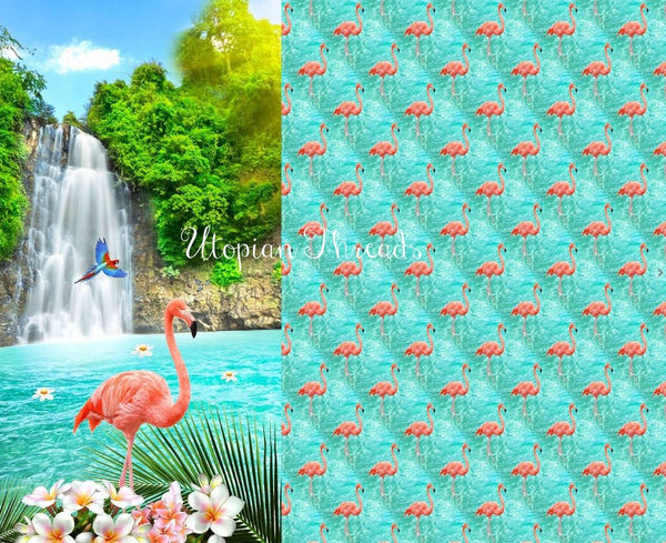 EURO DIGITAL KNIT Waterfall Flamingos Split Panel