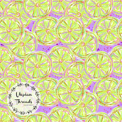 CUSTOM DIGITAL PRINT Neon Summer Fun - Citrus on Purple - BY REQUEST