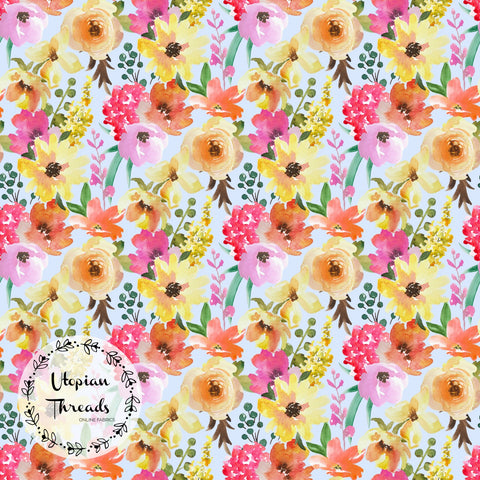 CUSTOM DIGITAL PRINT Summer Peach Floral - Floral Blooms Soft Powder Blue - BY REQUEST