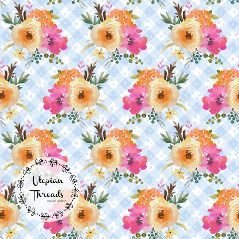 CUSTOM DIGITAL PRINT Summer Peach Floral - Floral Bouquet Gingham Blue - BY REQUEST