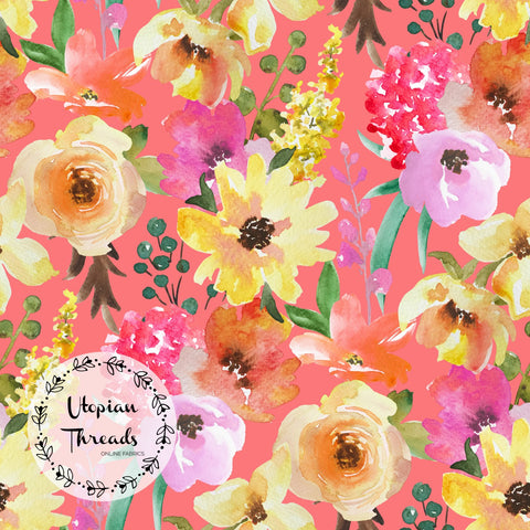 CUSTOM DIGITAL PRINT Summer Peach Floral - Large Blooms on Coral - BY REQUEST