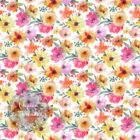 CUSTOM DIGITAL PRINT Summer Peach Floral - Mini Blooms on White - BY REQUEST