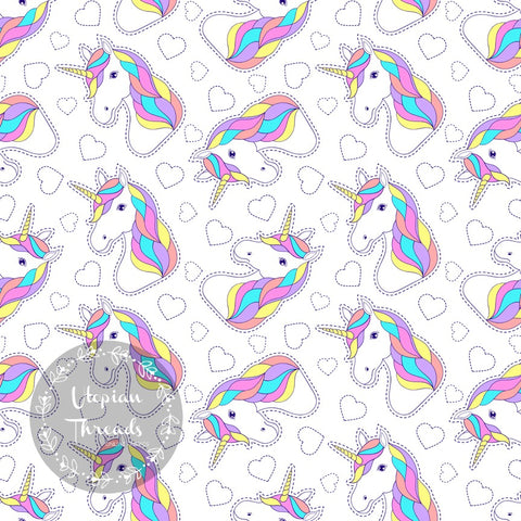 CUSTOM DIGITAL PRINT Summer Swirl - Unicorns White - BY REQUEST