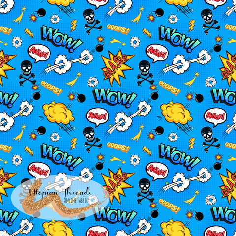 CUSTOM DIGITAL FABRIC Superkid - Comic Mini Words Blue  - BY REQUEST