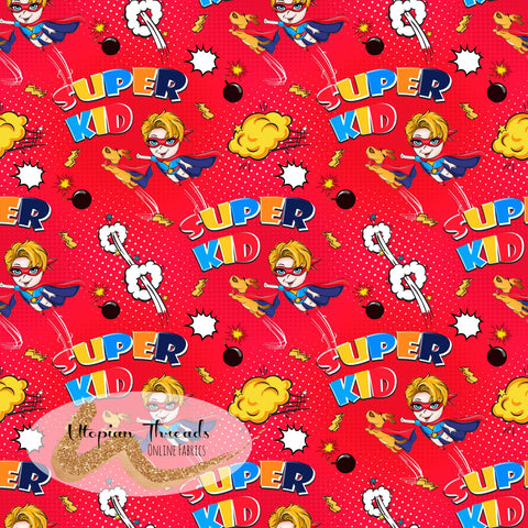 CUSTOM DIGITAL FABRIC Superkid - Mini Flying Duo Red - BY REQUEST