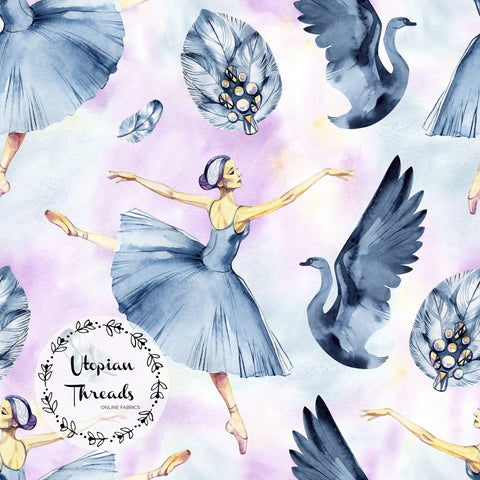 CUSTOM DIGITAL PRINT Swan Ballet - Ballerinas & Swans Pastel Multi - BY REQUEST