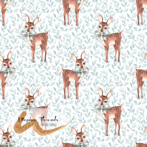 CUSTOM DIGITAL FABRIC Christmas Fawn - Fawns Foliage - PRE ORDER (Sept/Oct 2020)