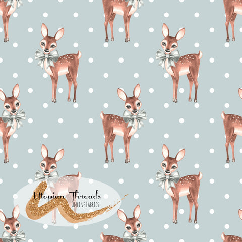 CUSTOM DIGITAL FABRIC Christmas Fawn - Fawns Polka Blue Grey - PRE ORDER (Sept/Oct 2020)