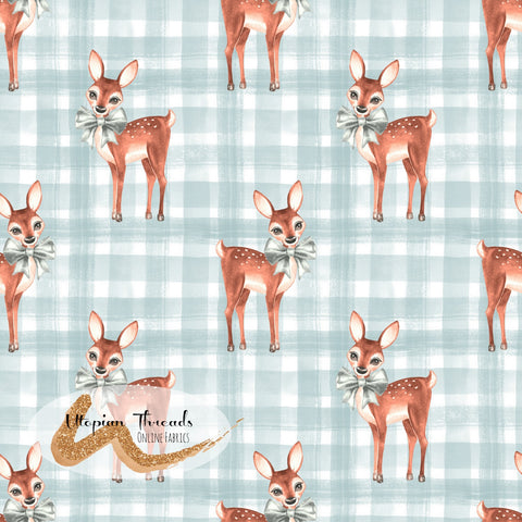 CUSTOM DIGITAL FABRIC Christmas Fawn - Fawns Gingham Blue - PRE ORDER (Sept/Oct 2020)