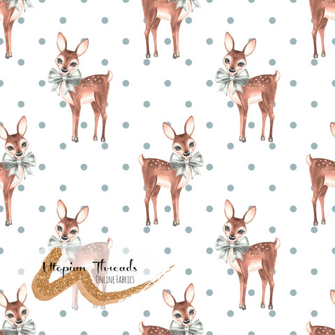 CUSTOM DIGITAL FABRIC Christmas Fawn - Fawns Polka White - PRE ORDER (Sept/Oct 2020)