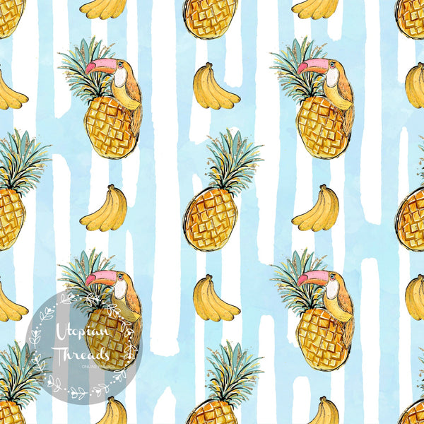 CUSTOM DIGITAL WOVEN (Cotton Poplin 140gsm) Tropical Summer - Pineapple Stripes