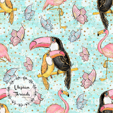 CUSTOM DIGITAL FABRIC Tropical Summer - Toucan Duo Aqua - BY REQUEST