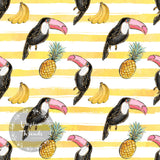CUSTOM DIGITAL WOVEN (Cotton Sateen 130gsm) Tropical Summer - Toucans Stripe Yellow