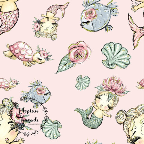 CUSTOM DIGITAL FABRIC Under The Sea - Mermaids & Friends Pink - PRE ORDER (May/June 2019)