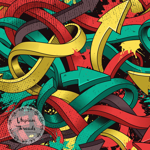 CUSTOM DIGITAL FABRIC Urban Art Graffiti - Arrows Yellow Red Green  - BY REQUEST