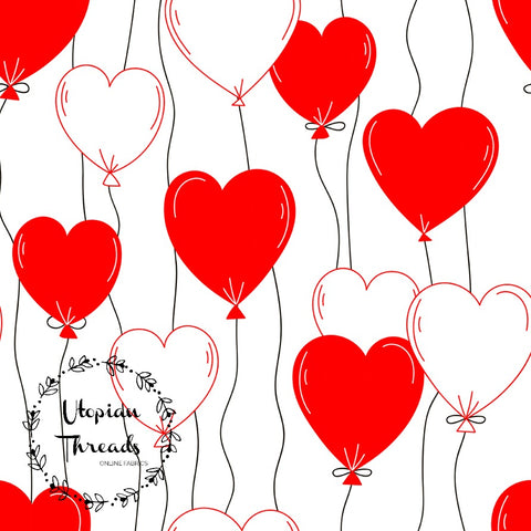 CUSTOM DIGITAL FABRIC Parisienne Love - Heart Balloons