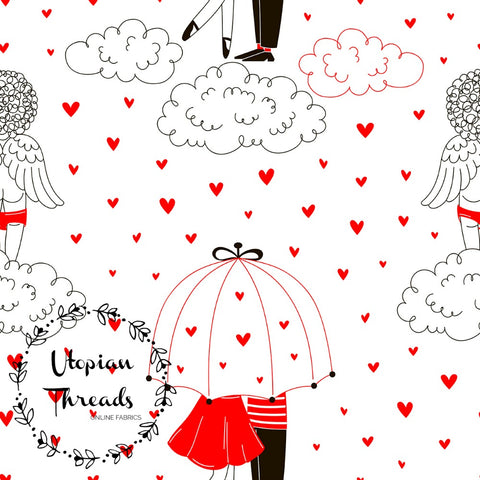 CUSTOM DIGITAL FABRIC Parisienne Love - Raining Hearts