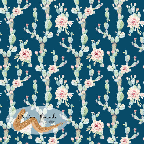 CUSTOM DIGITAL FABRIC  Watercolour Succulents - Allover Dark Teal - BY REQUEST