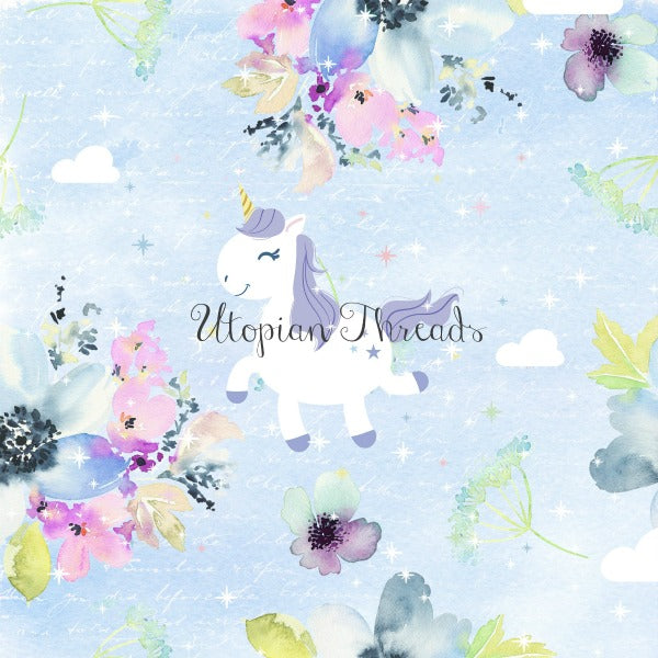 CUSTOM DIGITAL WOVEN (Cotton) Watercolour Whimsy - Unicorns Powder Blue - PRE ORDER (Oct 2018)