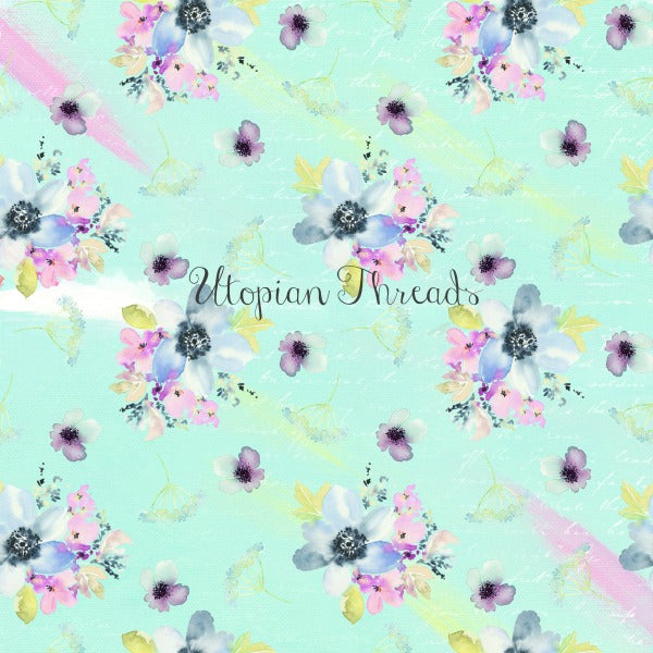 CUSTOM DIGITAL WOVEN (Cotton Sateen 150gsm) Watercolour Whimsy - Bouquets Aqua