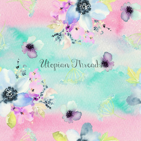 CUSTOM DIGITAL WOVEN (Cotton Sateen 130gsm) Watercolour Whimsy - Large Bouquet Pink Aqua