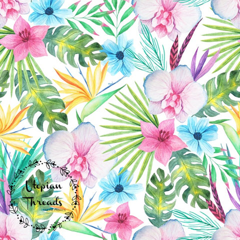 CUSTOM DIGITAL FABRIC Watercolour Tropical - Bird Of Paradise Multi - PRE ORDER (May/June 2019)