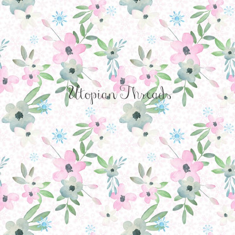 CUSTOM DIGITAL FABRIC Winter Fairies Floral White - BY REQUEST