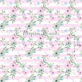 CUSTOM DIGITAL WOVEN (Cotton) Winter Fairies - Floral Stripe Pink - PRE ORDER (Oct 2018)