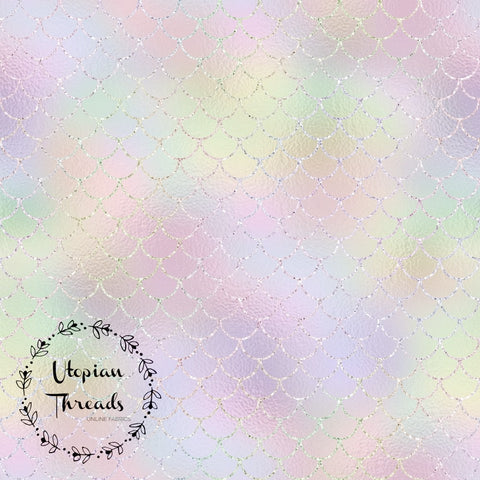 CUSTOM DIGITAL WOVEN (Cotton Poplin 140gsm) Sparkle Mermaid Scales - Light Pastel (Second)