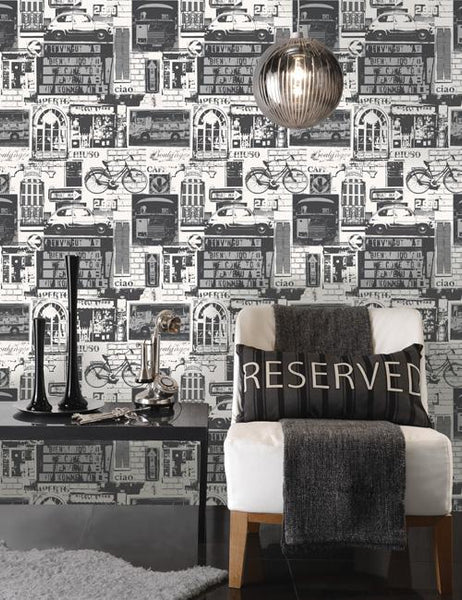 11239 Urban Sights is a beautiful Black / White Collage Wallpaper from Holden Decor