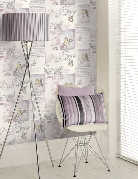 11262 Songbird is a beautiful Pink Collage Wallpaper from Holden Decor