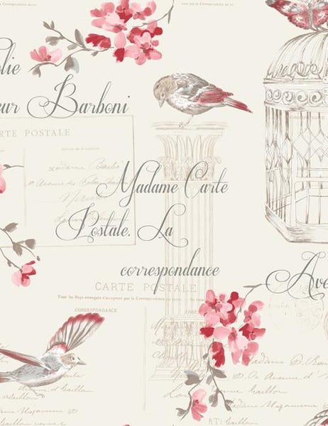 11317 Aviary is a beautiful Red / Cream Bird Wallpaper from Holden Decor