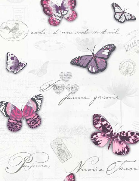 11370 Butterfly Collage is a beautiful White / Pink Butterfly Wallpaper from Holden Decor