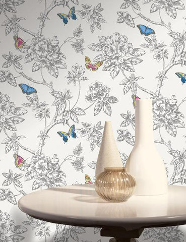 11430 Tahlia is a beautiful White / Multi Butterfly Wallpaper from Holden Decor