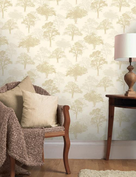 11470 Glitter Woodland is a beautiful Gold Tree Wallpaper from Holden Decor