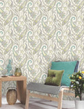 11540 Tropical Paisley is a beautiful Teal / Cream Motif Wallpaper from Holden Decor
