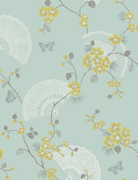 11570 Glitter Oriental Fan is a beautiful Duckegg Trail Wallpaper from Holden Decor